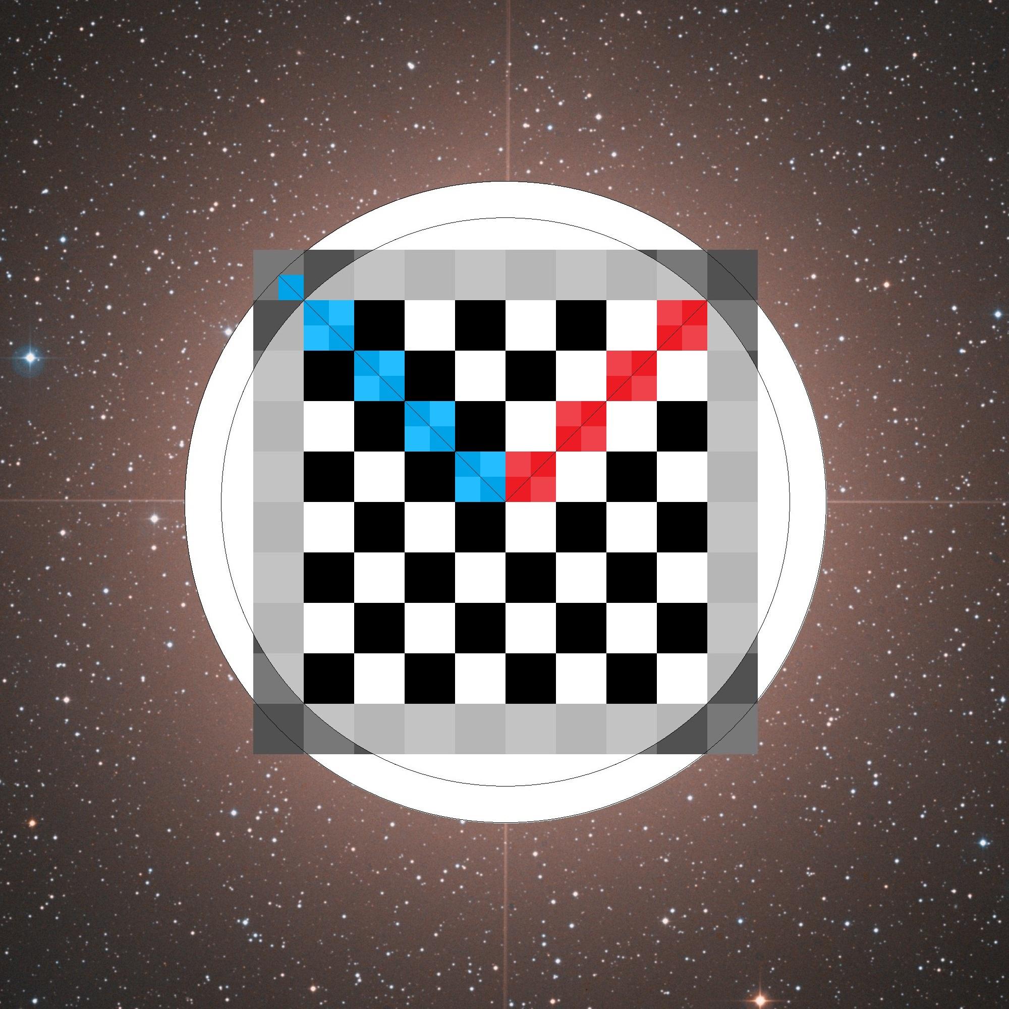 deux cercles, deux rayons et un carré