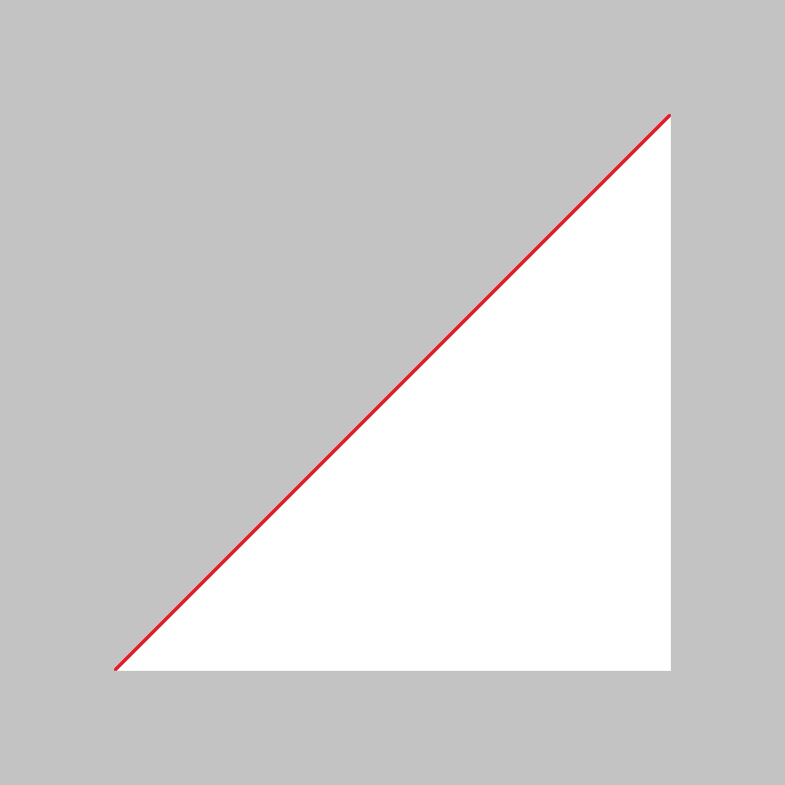 L'hypoténuse d'un triangle rectangle isocèle de côté 1 vaut √2